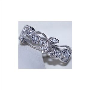 925 Silver Cocktail Ring with Crystals NWT